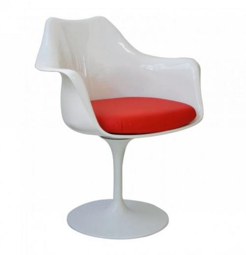 Cadeira Saarinen com Braço, Base de Alumínio e Assento Estofado